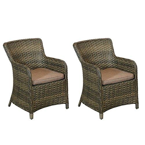 2x Hochwertige Gartensessel, Polyrattan braun, inklusive Sitzkissen, Premiumqualität der Serie Vila / Relaxsessel Loungesessel Set Loungemöbel Gartenmöbel Terrassenmöbel