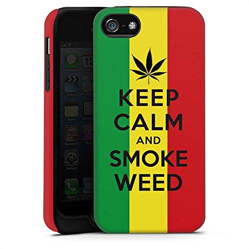 Apple iPhone X Silikon Hülle Case Schutzhülle Keep calm and smoke weed Sprüche Statement Tough Case matt