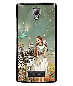 PrintVisa Artistic Girl High Gloss Designer Back Case Cover for Lenovo A2010