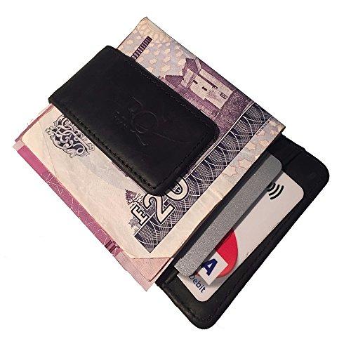 Premium Kreditkarten Halter Echtes Leder Geld Clip Halter Front Tasche Slim Wallet mit starken magnetischen Clip (Halter Front)