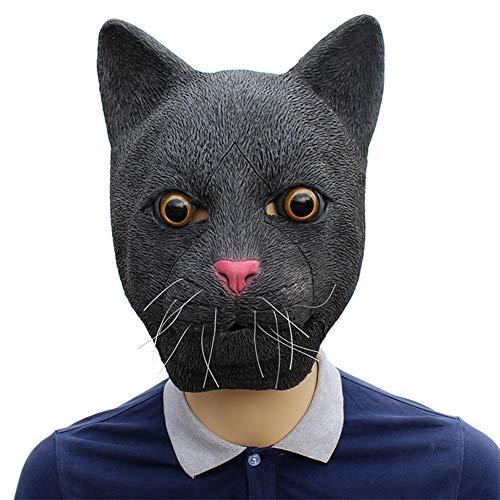 ZM-Shoes Schwarze Katze Maske, Latex Halloween Tier Masken Katze Kopf Masken Kostüm Party Maske Für Erwachsene (Loch-halloween-kostüme Im Gesicht)