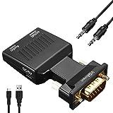 AMANKA VGA auf HDMI Konverter, 1080P Full HD VGA zu HDMI Adapter mit 3.5mm Audio Übertragung und USB Kabel, Schwarz