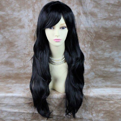 Atemberaubende Hitzebeständig vorne Perücke extra lang gewellt, schwarz Lady Perücke mit Nachahmung Kopfhaut (Schwarze Extra Perücke Lange)