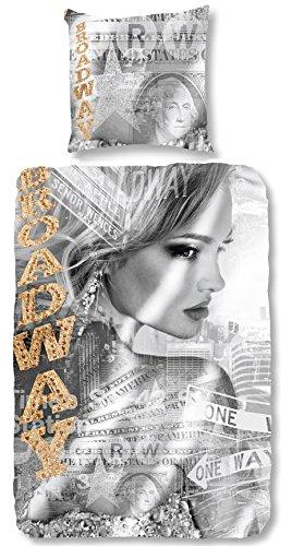 Good Morning! 5033-P Broadway Girl Special Edition bettwäsche mit Frau un Tekst, 100% Baumwolle, Grey, 200x135x0.5 cm (Sexy Bettwäsche)
