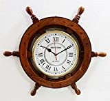 Marine Nautical Store Reloj de Pared náutico con Rueda de Barco de Madera de 45,7 cm