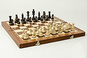 "19"" Tournament chess set. Folding inlaid board & Staunton pieces"
