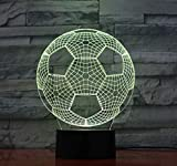 Lampade 3D Illusione Ottica Luce Notturna,LED Night Light, 7 colori che cambiano Touch Switch Desk Lamps, regalo di compleanno per bambini e decorazione del partito(Calcio)