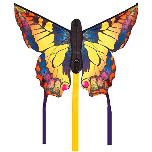 """HQ100300 -Butterfly Kite Swallowtail \""""R\"""" Kinderdrachen Einleiner, ab 5 Jahren, 34x52cm und 2x300cm Drachenschwanz, inkl. 10kp Polyesterschnur 25m auf Griff, 2-4 Beaufort"""