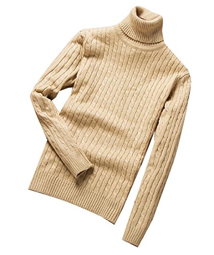 Tootlessly-Men Slim Fit Solid-Colored Thickened Turtleneck Knitting Shirt