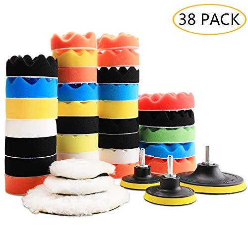 Benavvy 38-teiliges Polierpad-Set, 2-in-1, Schaumstoff-Bohrer, 17,78 cm & 81-7,6 cm Polierpads Autopflege Polierer Wachsen Polieren -