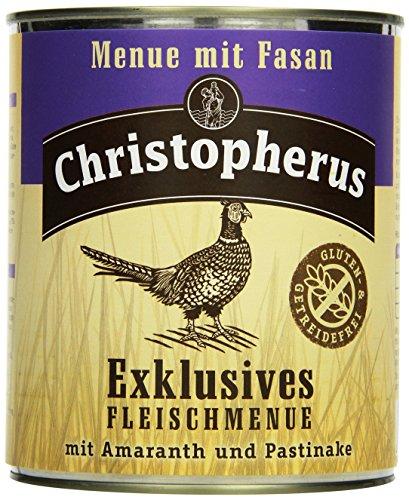 Christopherus Alleinfutter für Hunde, Nassfutter, Gluten- und getreidefrei, Fasan/ Amaranth/ Pastinake, Exklusives Fleischmenü 800 g