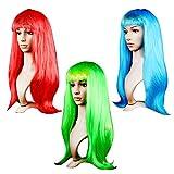 Kurtzy Largas Pelucas para Mujeres - Pack de 3 (68cm) Pelucas Libres de Enredos Colores Rojo, Azul, Verde - Pelucas Pelo Largo Cosplay, Disfraces y Fiestas de Halloween