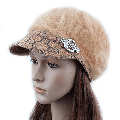 FQG*Winter hat marée femmes Bailey boulettes de lapin tricoté élégant cheveux chapeaux casquette pull d'hiver chaud, rouge Beige