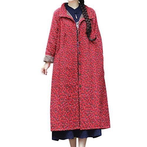 TWBB Damen Oversize Baumwolle Leinen Mantel,Winter Cardigan Drucken Lange Wintercoat,Trenchcoat Warm Wintermantel Outwear Elegant Jacke Strickjacke Coat