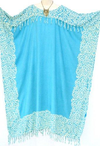 Coole Kaftan Kaftan NIA Damen Leopard Beach Wear Kleidung Damen Batik Lange Quasten Fringe Damen-Frauen-Strand Lose Kleid Kühle (blau BLUE)