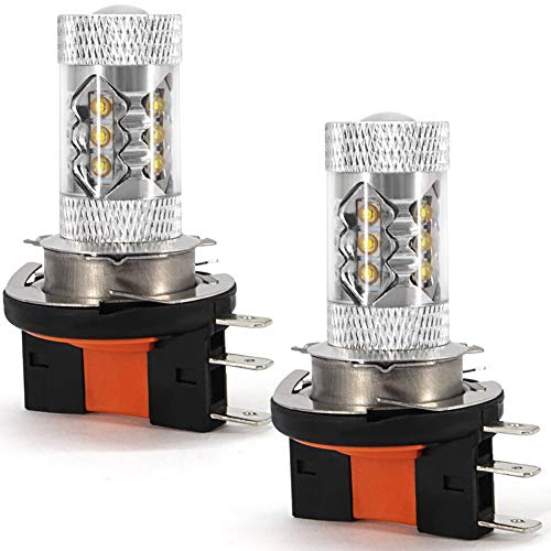 H15 Lampadina LED DRL Fendinebbia, fascio abbagliante 12V 80W 16 Chip Cree Super Bright per luci diurne 6000K (confezione da 2)