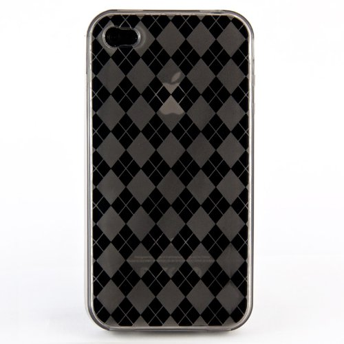 wortek® Silikon TPU Schutzhülle Retro Karo Muster Apple iPhone 4 / iPhone 4S Grau Grau