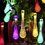 S&G Fairy Garden Lights, Multi-Color 7.85M 40 LED Fairy Lights Solar Powered Waterproof Water Drop String Lights Christmas Decoration LED String Light