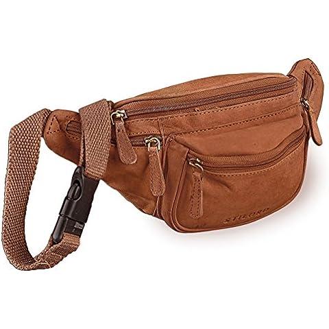 STILORD bolso riñonera bandolera estilo retro Bolso de viaje hombres mujeres piel naranja