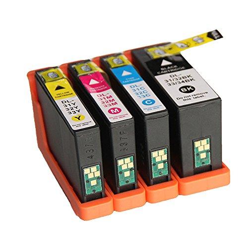 Preisvergleich Produktbild LCL(TM) 31 32 33 34 (4-Stück Schwarz Cyan Magenta Gelb)Tintenpatrone Kompatibel für Dell V525w Dell V725w