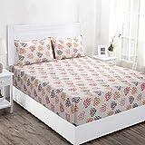 Maspar Superfine 144 TC Cotton Double Bedsheet with 2 Pillow Covers - Floral, Red
