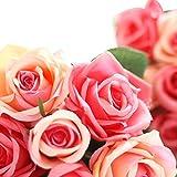 Lookatool 9Têtes Fleurs Artificielles en Soie Faux Feuille Rose Mariage Décor Floral Bouquet Th-49 I