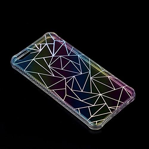 iPhone 6 Plus Coque Transparent Tpu,iPhone 6S Plus Étui en Silicone Mince avec Motif,JAWSEU [Double Face]Luxe Coloré Placage Cristal Clair Souple Gel Housse Etui de Protection,Bling Sparkle Case CLear triangle