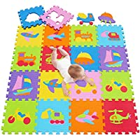 meiqicool Children Kids Puzzle Play Mat Colourful Catroon Non Toxic Foam Floor Tiles by 32 x 32 x 1.2cm Square 028028