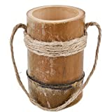 Dadeldo Vase Asia Design rund Bambus natur Blumen Pflanzen Gefäß (14x8x8cm)