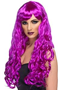 Smiffy's Desire Curly Wig with Fringe - Purple, Long