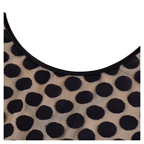 Miusol Damen Elegant Abendkleid Vintag 50er Kleider mit Polka Dots Spitzen Partykleid 3/4 Arm Knielang Rockabilly Kleid Schwarz Gr.M -