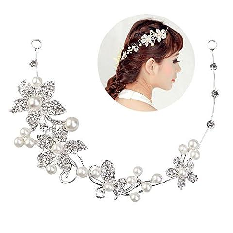Tinksky Hochzeit Diadem Braut Tiara Stirnband Brautjungfern Crystal Perlen Dekor
