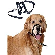 Mascota Perro Nailon Ajustable Loop Bite Bark Control fácil ajuste rápido perro Bozal Negro