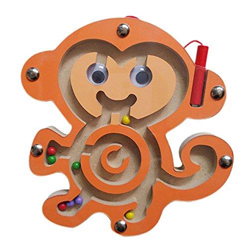 Ndier Jouet en Bois de Labyrinthe de Forme Animale en Bois de Bande dessinée avec Les Perles magnétiques et Le Stylo-Guide, Jouet de Puzzle du Labyrinthe d'enfants (Singe)
