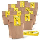 10 kleine braune Papiertüten Ostertüten Geschenktüten 14 x 22 x 5,6 cm + 10 Banderole Aufkleber Etiketten 5 x 15 cm Frohe Ostern GELB OSTERHASE Verpackung z. Befüllen als Osternest