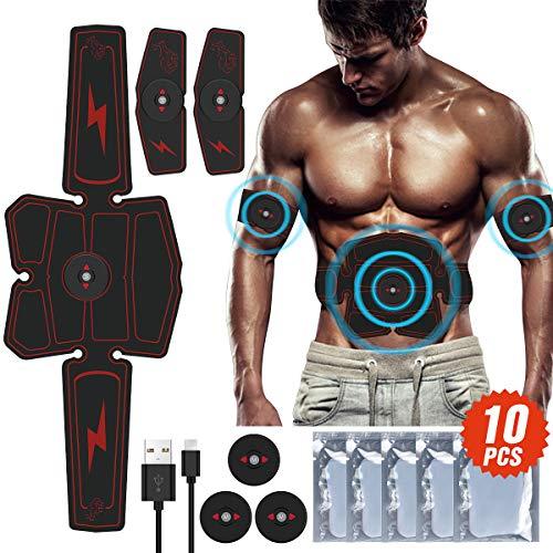 Awroutdoor Muskelstimulator EMS Abs Trainer Fitness Training Gear Bauchmuskeln Toner USB Wiederaufladbare Ultimative Stimulator Trainingsgeräte Maschine für Muskelaufbau und Fettverbrennung