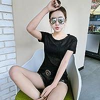 GUYIVVU Frauen Jacke Lace Wilde Frauen Kleidung Party Anziehung Sommer Bronzing Kurzarm T-Shirt Weibliche Halbe Ärmeln Bodenbildung Shirt Perspektive Top T
