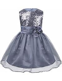 iixpin Baby M/ädchen Blume Kleid Langarm Blumenm/ädchenkleid Spitzen Taufkleid Festlich Festzug Hochzeit Prinzessin Kleid Geburtstag Partykleid Wei/ß Gr.62-92