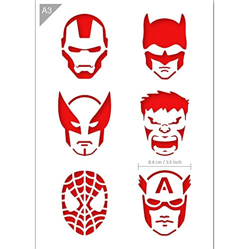 QBIX Superhero Stencil - Ironman, Batman, Wolverine, The Hulk, Spider Man, Captain America Stencil - A3 Size - Reusable Kids Friendly DIY Stencil for Painting, Baking, Crafts, Wall, Furniture