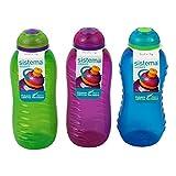 3 cantimploras Sistema de 330  ml; botellas de agua con tapa en color azul, verde lima y rosa
