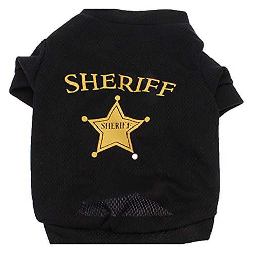swiduuk Fashion Cute Cool Pet Hund Katze Mesh Tuch Sheriff Star T-Shirt Top Kleidung Kostüm