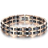 JewelryWe Schmuck Damen Armband, Edelstahl Keramik, Elegant Doppel H Link Charms Armreif, Rose Gold Schwarz