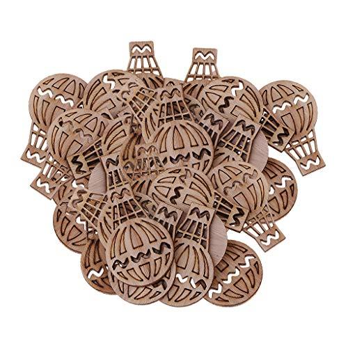 Baoblaze 100 Stücke Holz Ausschnitte Heißluftballon Formen Holzscheiben Holz Scheiben Verzierungen Holz Stücke für DIY Handwerk Dekorieren Scrapbooking