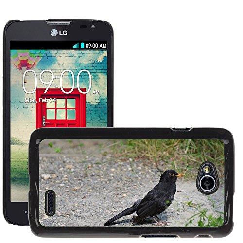 Amseln Tiere (Grand Phone Cases Bild Hart Handy Schwarz Schutz Case Cover Schale Etui // M00141940 Amsel-Vogel-Tier Schwarz Natur // LG Optimus L70 MS323)