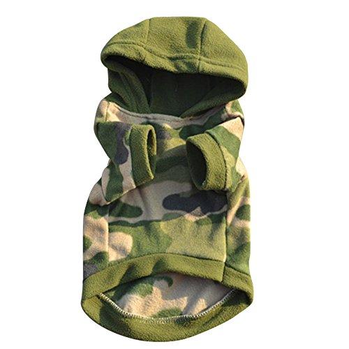 LHWY Hund Haustier Kleidung Hoodie Warm Pullover Welpen Mantel Kleid Tarnung (L)