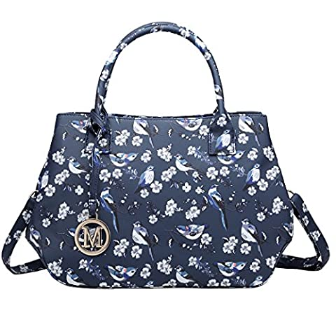 Miss Lulu Lady Tote Cross Body Bag Small Cute Fresh Bird Flower Design for Girls Women (1633-16J