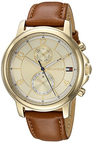Tommy Hilfiger Women's 'Sophisticated Sport' Quartz Gold-Tone and Leather Casual Watch, Color:Brown (Model: 1781818)