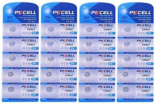 PKCELL 20 x CR927 3V Lithium Knopfzelle 30 mAh (4 Blistercard a 5 Batterien) EINWEG Markenware