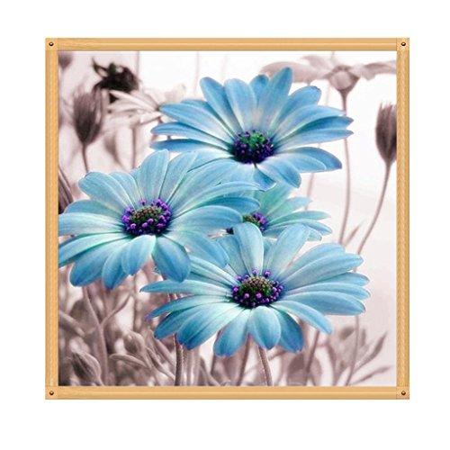 Winkey DIY 5d Diamant Broderie de peinture, 5d Chrysanthème au point de croix Craft Home Decor Art, bleu, 35*35cm