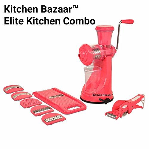 Kitchen Bazaar Elite Plastic Manual Citrus Juicer Set, Set of 3, Pink